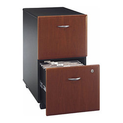 Bush Business - Hansen Cherry Double Drawer Assembled File Ca - Successful organization in any office or at home includes a practical and attractive filing cabinet.  The Hansen cherry finish double drawer cabinet is assembled before shipping.  It features casters for added versatility and full extendable rails for easy document access.  The classically inspired Hansen Cherry finish haronizes with its refined matte black frame, both aspects giving a no-nonsense business appeal which also flaunts a sense of style and grace.  The curvaceous silvery handles provide a cooler accent which fully completes its overall look. * Casters allow easy mobility. File fits under desks. Each drawer holds letter, legal and A4-size files. One gang lock secures both drawers. Drawers open on full-extension ball bearing slides. Fully assembled case goods. Fits under 36 in., 48 in., 60 in. and 72 in. Desks. 15.512 in. W x 20.276 in. D x 28.150 in. H