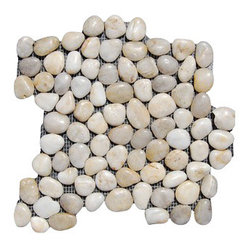 Design For Less - Smokey White Pebble Tile - Soft muted tones in distinctive gray, white and amber add visual appeal to this tile that's handmade in Southeast Asia. Apply them to a wall in creative ways, use them as flooring inside an outdoor or indoor shower, or use them as a backsplash for an accent of color and texture.
