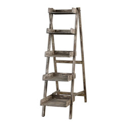 Uttermost - Uttermost Annileise Bookshelf 24326 - Compact, easel style folding design with five wooden shelves in a sun faded, weathered charcoal finish showing multiple layers of hand distressing.