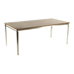 Stilnovo Polk Walnut Dining Table - The Polk dining table is built upon a thick guage, stainless steel frame with an American walnut veneer top. This table is a heavy, commercial grade piece of furniture.