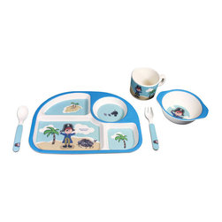 Bamboo Studio - Bamboo Studio Bamboo Kids 5 Piece Blue Pirate - Ecofriendly equals kid friendly when it comes to Bambooware. This colorful and playful set makes sitting down for meals fun. Made of bamboo, it's FDA approved and dishwasher safe, so you'll love it as much as the kids do. This set features a mischievous blue pirate.