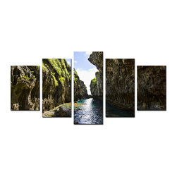 Ready2HangArt - Ready2hangart 'Perfect Escape' 5-piece Canvas Wall Art - The 'Perfect Escape' 5-piece canvas art set depicts a narrow break between two cliffs, brushed with foliage, interfused by calm mossy waters leading to the sea. This 5-piece canvas features a tropical theme and is gallery-wrapped canvas for a contemporary look.