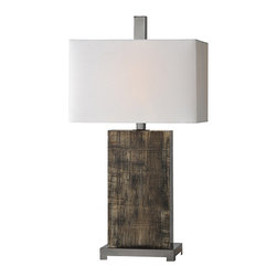 Ren-Wil - Ren-Wil LPT478 Satin Nickel Malvolia Lamp by Jonathan Wilner - The Malvolia lamp is made from glass and is painted on reverse and is finished with an off white linen shade and matching finial.