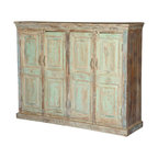 Sierra Living Concepts - Julian Reclaimed Wood 4 Door Weathered Sideboard Cabinet - Painted wood surfaces shaped and perfected by the passage of time evoke gentle memories and pleasant thoughts. Julian Four Door Weathered Sideboard is built with reclaimed wood from Gujarat and has the colors reminiscent of Monet's pallet. The gentle pastel colors of the credenza have been softened over time as process of natural seasoning, no modern paints or stains are added.