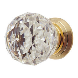 Renovators Supply - Cabinet Knobs Crystal Cabinet Knob 1'' Brass backing - Cabinet Pull. This crystal ball knob projects 1 1/4 inch and the backplate diameter is 3/4 inch. Measures 1 inch overall diameter of the knob.