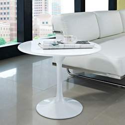 MODERN ROUND WHITE FIBERGLASS SIDE TABLE LAHOLM -
