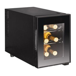 Curtis - Igloo 6 Bottle Wine Cooler - Igloo 6-Bottle Wine Cooler would be an ideal gift for the wine enthusiast. It features a sleek design that will fit in well with almost any home decor. This glass door wine cooler has enough room to hold six bottles of wine to help ensure that you will always have your favorite wines chilled and on hand when you want them - Black.