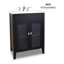 """Hardware Resources - Elements Bathroom Vanity - This 28-1/8"""" wide MDF vanity features a clean modern design with green ribbed class inserts in the door fronts and a sleek black finish. A large cabinet with a fixed shelf allows for ample storage. This vanity has a 2 cm white porcelain top and integrated rectangular bowl preassembled, holes cut for 8"""" faucet spread that requires a pop-up assembly without overflow. Overall Measurements: 28-1/8"""" x 18"""" x 35-3/4"""" (measurements taken from the widest point) - Faucet must be purchased separately."""