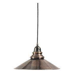"""Savannah Lamp - The savannah lamp measures 13"""" x 6"""". This utilitarian designed lamp is nicely molded in a classic French country style. It features a bronze finished solid brass and antique copper body. It comes complete with ceiling bracket."""