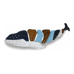 Zeckos - Large Colorful Wooden Whale Distressed Wooden Wall Hanging 42 in. - This spectacular whale wall hanging is a great accent in a beach house or beach themed room anywhere whale watchers are found This substantial whale is crafted from wood pieces, and hand-painted with a blue, white and earthy brown distressed finish with pearl like and pearlized shell highlights It easily mounts to the wall using the attached hanger, and looks amazing in restaurants or bars, too Whether near the pool, by the garden or in your dining room, this 42 inch (107 cm) long, 13 inch (33 cm) high, 1 inch (3 cm) Deep lobster makes a 'catch' of a wall hanging sure to be admired
