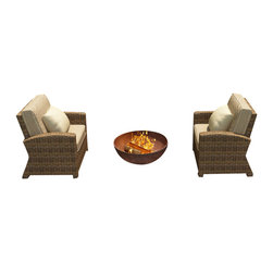 Forever Patio - Cypress 2 Piece Modern Outdoor Chat Set, Spectrum Mushroom Cushions - The Forever Patio Cypress 2 Piece Rattan Patio Chat Set with Beige Sunbrella cushions (SKU FP-CYP-2CH-HR-SM) provides a stylish setting for one-on-one time out on your patio or deck. The set seats 2 adults comfortably, and includes 2 matching club chairs. This set features Heather resin wicker with a half round design that creates a complex and luxurious look. Every strand of this outdoor wicker is made from High-Density Polyethylene (HDPE) and is infused with its natural color and UV-inhibitors that prevent cracking, chipping and fading ordinarily caused by sunlight, surpassing the quality of natural rattan. This patio set is supported by thick-gauged, powder-coated aluminum frames that make it extremely durable. Also included are fade- and mildew-resistant Sunbrella cushions. The sweeping armrests and wonderfully textured wicker will make this patio chat set your go-to spot for outdoor relaxation.