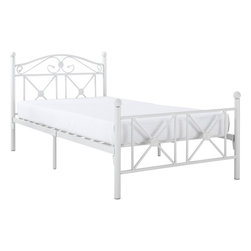 Modway - Cottage Bed Frame, White - Calming simplicity beams from the high gloss white finish of the Country Cottage Bed Frame. Upright metal posts topped with round ball finials add a quaint and relaxed look, while a peaceful header and footer have a lattice work design that speaks serene.