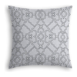 Pale Gray Scroll Trellis Custom Throw Pillow - The every-style accent pillow: this Simple Throw Pillow works in any space.  Perfectly cut to be extra fluffy, you'll not only love admiring it from afar but snuggling up to it too!  We love it in this chic morrocan style trellis with intricate outlined scrolls of white on ice gray cotton.