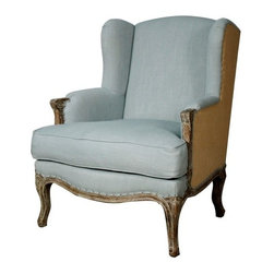 NPD (New Pacific Direct) Furniture - Marie Wing Armchair by NPD Furniture, Soft Blue/Burlap - Comfort and luxury, this Marie Wing armchair will be a great addition to your living area. Solid Birch wood frame.