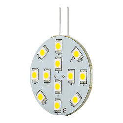 LED G4 Lamp, 12 High Power LED Disc Type - Disc type G4 based Lamp with 12 high power LEDs. 12 Volt AC or 10~30 Volt DC operation producing up to 190 lumens at 6000K or 3000K with a 120 degree beam angle. 1.2 inch diameter, connection pins exit back of lamp. Price for each.