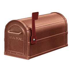 "Salsbury Industries - Deluxe Rural Mailbox - Mocha - Made entirely of aluminum, Salsbury U.S.P.S. approved 4800 series deluxe rural mailboxes feature a 1/8"" thick extruded aluminum body and a 1/8"" thick die cast aluminum front door and rear cover.  Deluxe rural mailboxes also feature a durable textured powder coated finish available in two (2) color and include an adjustable burgundy signal flag and a magnetic door catch.  A full width stainless steel hinge attaches the die cast door to the body allowing for smooth operation.  Deluxe rural mailboxes and optional matching deluxe newspaper holders can be mounted on standard, classic, decorative or deluxe mailbox posts, spreaders or a base of your choice.  Deluxe mailboxes are approved for U.S.P.S. curbside mail delivery and are manufactured to USPS-STD-7B specifications.  Salsbury Industries is an ISO 9001:2008 certified company and has excelled in the field of manufacturing since 1936."