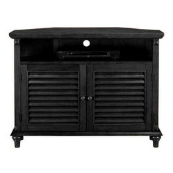 Home Decorators Collection - Savannah Louvered-Door Corner TV/DVD Cabinet - Inspired by the window shutters of the Old South, this cabinet appeals to anyone seeking sturdy, attractive furniture in the classic Southern style. This unique TV cabinet functions as both a space-saving TV stand and a charming accent piece, providing durable support without sacrificing one iota of design charm. One adjustable shelf for storage. Wood.