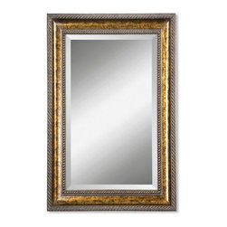 Uttermost - Sinatra Gold Leaf Undercoat Rectangular Mirror - This large mirror features a thick wood frame hand finish in bronze leaf.  The mirror has 1 1/4 inch bevel.