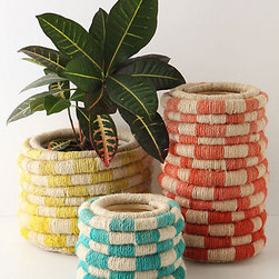Color Coil Pot, Small - These coiled jute pots have an earthy feel to them. They would be great for the modernist who also loves nature. Fill them with simple plants like succulents or cacti.