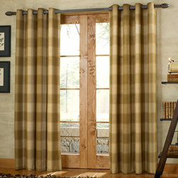 "Country Style Curtain Ideas - Shelton is a county style grommet top curtain. With a woven plaid design, the Shelton grommet curtain panels will create a cozy warm feeling in any room. Large scale tone-on-tone plaid with antique brass grommets 1 1/2"" diameter. 100% Polyester, machine washable."