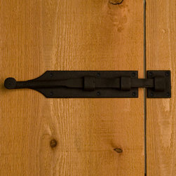Rustic Iron Surface Bolt - Mount this iron surface bolt to easily add security to your entry door or gate. The rustic style is perfect for gates, barn doors, or rustic homes.