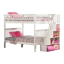 Atlantic Furniture - Woodland Staircase Full Over Full Bunk Bed in White - This full over full bunk bed has a classic craftsman style. It's well-crafted of sturdy hardwoods and comes in your choice of available finish options. It comes complete with a 14-piece slat kit and fun storage staircase. The staircase has four open cubbies in graduated size and may be installed at either end of the bunk bed.
