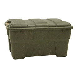 None - Richell 38-quart Camo Green Outdoor Storage Box - This 38-quart capacity snap lock outdoor storage box in a camouflage green color is made of polypropylene. This ultra-sturdy and durable large sized storage box has easy-to-use snap lock closures that ensure a secure close every time.
