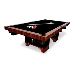 Lee Weitzman Furniture - Lotus Pool Table - This amazing pool table is made of Natural Ribbon Sapeli with black and Mother of Pearl detailing.  It has woven leather pockets and comes with the highest quality of black pool table felt.  Finished in High Gloss
