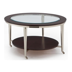 Steve Silver Co. - Norton Cocktail Table w Beveled Glass Top & C - Wood frame top w 8mm tempered beveled glass inset. Brushed nickel finish castered legs. Multi-step Espresso finish. Select hardwood solids material. Some assembly required. Sturdy gauge metal materials. 35 in. L x 35 in. W x 20 in. H (21 lbs.)