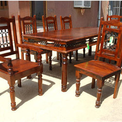 Philadelphia Solid Wood Dining Room Table with Iron Accents -