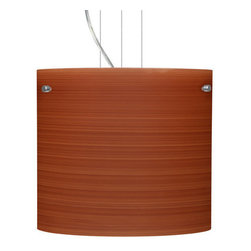 Besa Lighting - Besa Lighting 1KG-4184CH Tamburo 1 Light Cable-Hung Pendant - Tamburo is a classic open-ended cylinder of handcrafted glass, a shape that will stand the test of time. Our Cherry glass is a soft off-white cased glass that is handcrafted with spiraling strokes of dark red, emphasizing the subtle brush pattern. The reddish rippled design is subdued and harmonious. Unlit, it appears as simply a textured surface like wood grain, but when lit the texture comes alive. The smooth satin finish on the clear outer layer is a result of an extensive etching process, with the texture of the subtle brushing. This blown glass is handcrafted by a skilled artisan, utilizing century-old techniques passed down from generation to generation. The cable pendant fixture is equipped with three (3) 10' silver aircraft cables and 10' AWM cordset, and a low profile flat monopoint canopy.Features: