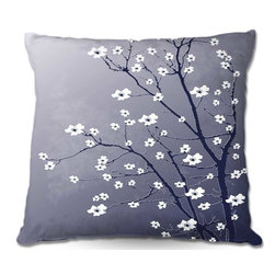 DiaNoche Designs - Pillow Woven Poplin by Monika Strigels Blooming Tree Blue Grey - Toss this decorative pillow on any bed, sofa or chair, and add personality to your chic and stylish decor. Lay your head against your new art and relax! Made of woven Poly-Poplin.  Includes a cushy supportive pillow insert, zipped inside. Dye Sublimation printing adheres the ink to the material for long life and durability. Double Sided Print, Machine Washable, Product may vary slightly from image.