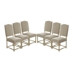 The Gallery - Set of 6 Empire Parsons Upholstered Side Dining Chairs - Originally designed to seat kings, This gorgoues chair is upholstered with natural linen and stunning oak legs. This comfortable chair is perfect for any dining room.