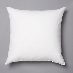 """Frontgate - 24"""" Sq. Decorative Pillow Insert - High-quality down insert. 10% white goose down, 90% feather fill. Covered in tightly woven 100% cotton ticking. 233 thread count. SoftPlus double fabric layer system ensures a smooth appearance. Instantly and effortlessly plump up any accent pillow with our sumptuous Decorative Pillow Insert. Crafted of the finest white goose down and feather fill, this square insert offers plush softness and comfort no matter where you place it.  .  .  .  .  . Easy Care Machine Washable & Dryable . Made in the USA."""
