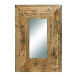 Benzara - Looking Glass Style Mirror with Old Look Rectangle Frame - Looking glass style mirror with old look rectangle frame. This antique mirror is just what you are looking for to complete your foyer or hallway decoration.