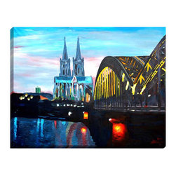 """DiaNoche Designs - Cologne Illuminated Wall Art - Illuminated wall art by Dianoche Designs, brings continuous art 24 hours a day. Art during the day. Flip a switch, and at night, it is a light! Art by Markus Bleichner - Cologne - Kolner Dom mit Hohenzollernbrucke. Dianoche Designs illuminates artwork from behind using LED's designed to last 50,000 hours. The """"Art Today, Light Tonight"""" concept gives each customer an opportunity to enjoy their artwork 24 hours a day! Dianoche Designs uses images from artists all over world and literally """"Brings to Light"""" their astonishing works. Your power cord can be hidden by a simple cable organizer or cable raceway, that commonly hides speaker wire on a wall. This can be purchased at any home improvement store and you can also paint over it."""