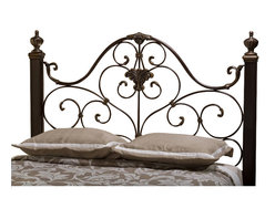 Hillsdale - Hillsdale Mikelson Headboard in Aged Antique Gold Finish-Queen - Hillsdale - Headboards - 1648HQ - Reminiscent of wrought-iron classics we imagine adorning royal bedrooms the Mikelson Bed brings luxury atmosphere to even the most basic of boudoirs. Solid hardwood bed posts and an antique gold finish are the final rich accents to this striking piece. Available in queen and king sizes and headboards can be sold separately. Matching rails included. Some assembly required.
