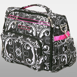 Ju Ju Be - Ju Ju Be BFF Diaper Bag - Shadow Waltz - 09FM02A-SW - Shop for Diaper and Bottle Bags from Hayneedle.com! Sophisticated and versatile the Ju Ju Be BFF Diaper Bag - Shadow Waltz can be carried as a messenger bag tote or backpack. Crafted from stain-resistant Teflon this bag features a waterproof satin liner that's treated with AgION for antimicrobial protection which kills germs mold mildew fungus bacterial and more. Changing your baby on-the-go is simple with the included memory foam changing pad which not only supports your baby but is also covered in a soft quilted fabric that also has antimicrobial treatment. Designed with busy moms in mind this stylish bag features a front pocket two bottle octets insulated with Thinsulate to keep your baby's bottle hot or cold for three hours and a cell phone pocket. Inside its spacious interior you'll find four gusseted pockets as well as three zippered pockets. The back pocket is ideal for diapers and wipes so they're always in easy reach. It also features a crumb drain so you can easily clear your diaper bag of crumbs and help it to stay clean. Machine washable you'll also be able to toss this bag in the wash to help keep it looking like new. With the Ju Ju Be BFF Diaper Bag you don't have to sacrifice any space or functionality for style. There are plenty of pockets and compartments to help you stay organized. Additional Features Interior has 4 gusseted pockets 3 zippered pockets Includes memory foam changing pad Interior made from waterproof satin AgION treated interior for antimicrobial protection Kills germs mold mildew fungus bacteria and more Changing pad covered in soft quilted fabric Changing pad cover features antimicrobial treatment Memory foam pad evenly supports baby Gusseted sides prevents items from falling out Features 2 picture pockets on the front Long zippered pocket on front lined with Tricot Tricot is perfect for protecting your camera Bottle pockets insulated with Thinsulate Baby's bottle or s