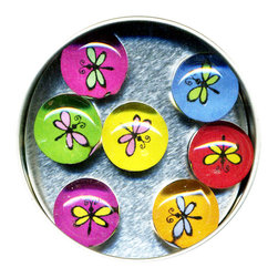 """Dragonfly Glass Gem Magnet Set - Handmade in our studio, our Dragonfly glass gem magnets started with a tiny painting which was reduced to size and reproduced. We use super strong ceramic magnets, so they're not only cute, they're functional. (Unlike those magnets that fall off when you close the refrigerator door!) Each magnet is about 3/4 inch wide, the tin is 2.75"""" wide. Set of 7 in a tin. Made in the USA."""