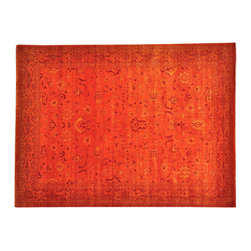 1800-Get-A-Rug - Orange Kashan Tone on Tone Handmade Oriental Rug Wool and Silk Sh19534 - Orange Kashan Tone on Tone Handmade Oriental Rug Wool and Silk Sh19534