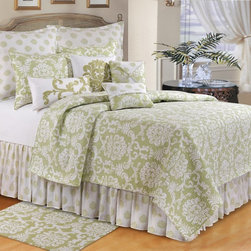 C and F Enterprises - C and F Enterprises Providence Cucumber Bedding Set - CFID200 - Shop for Bedding Sets from Hayneedle.com! Freshen the look of your master bedroom suite with this C and F Enterprises Providence Cucumber Bedding Set. This quilt and bedding set has a green and white color scheme with classic damask pattern to transform your bed into an oasis. It's made of cotton and is conveniently machine-washable. Customize your bedding set by adding a matching dust ruffle pillow shams and a variety of plump throw pillows. This set comes in your choice of size.Quilt Dimensions:Full/Queen: 92L x 90W inchesKing: 108L x 92W inches