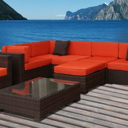 """Lamps Plus - Contemporary Atlantic Southampton 9-Piece Orange Outdoor Sectional - Dark brown wicker finish. Cushion color is orange. Atlantic collection. Aluminum and Synthetic Wicker frame. 9 individual pieces. Great functionality. No assembly required. 1 year warranty. Includes 3 corner 2 middle 1 ottoman 2 armchair and 1 table. Corner with cushions dimension is 32"""" wide 32"""" deep 27"""" high. Middle with cushions dimension is 28"""" wide 32"""" deep 27"""" high. Ottoman with cushion dimension is 28"""" wide 28"""" deep 13"""" high. Armchair with cushion dimension is 31 1/2"""" wide 31 1/2"""" deep 27"""" high. Table with tempered glass dimension is 34"""" wide 34"""" deep 12"""" high.  Dark brown wicker finish.  Cushion color is orange.  Cushions included.  Aluminum and Synthetic Wicker frame.  9 individual pieces.  Great functionality.  No assembly required.  1 year warranty.  Includes 3 corner 2 middle 1 ottoman 2 armchair and 1 table.  Corner with cushions dimension is 32"""" wide 32"""" deep 27"""" high.  Middle with cushions dimension is 28"""" wide 32"""" deep 27"""" high.  Ottoman with cushion dimension is 28"""" wide 28"""" deep 13"""" high.  Armchair with cushion dimension is 31 1/2"""" wide 31 1/2"""" deep 27"""" high.  Table with tempered glass dimension is 34"""" wide 34"""" deep 12"""" high."""