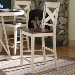 Coaster - Ellinger Counter Height Stool, Antique Oak/White - Set of 2 - This lovely dining table and chair set will be the perfect addition to your home. The simply styled table has a smooth oval shaped table top finished in oak. Matching chairs have high backs with an open X crossing pattern for a distinctive country style, above sleek square tapered legs. Add this stylish dining set to your dining room for a warm and inviting space where friends and family will love to gather.