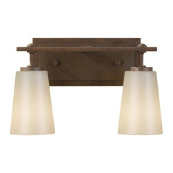 Feiss - Feiss Sunset Drive Two Light Corinthian Bronze Pearl Glass Vanity - This Two Light Vanity is part of the Sunset Drive Collection and has a Corinthian Bronze finish and Pearl glass.