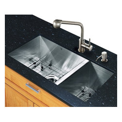 Vigo Industries - 29 in. Sink and Faucet Set - Includes under mount kitchen sink, faucet, soap dispenser, two matching bottom grids, two sink strainers, all mounting hardware and hot-cold waterlines.
