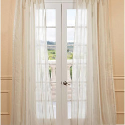 EFF - Essex Natural Linen Blend Stripe Sheer Curtain Panel - These elegant sheer curtains with woven jacquard stripes are not only gorgeous but fall perfectly to the floor. The curtains feature a classic style and are unmatched in their quality and create a beautiful diffusion of light.