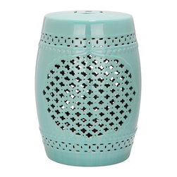 Safavieh - Quatrefoil Garden Stool - Heraldry reigns in the Quatrefoil Garden Stool with a cluster of tiny four-leaf cut-outs creating a strong but simple central motif that will complement myriad decorating styles. Use this robin's egg blue glazed ceramic accent piece indoors or out as an extra seat, a side table of plant stand.