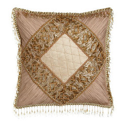 "Sweet Dreams Pillow w/ Shirred Silk Corners & Bead Embellishment, 16""Sq."