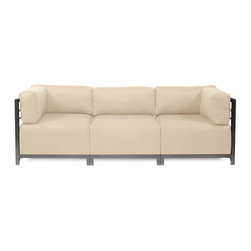 Howard Elliott - Sterling Sand Axis 3-piece Sectional - Titanium Frame - A Fashionable Trio! Lounge in style on a Sterling Axis 3pc Sectional will intoxicate your room with its uplifting style. Float the Sterling Axis 3pc Sectional in your room for an intimate seating arrangement. Expand your sectional with additional Chair, Corner or Ottoman Pieces. This piece features boxed cushions with Velcro attachments to keep the cushions from slipping and looking their best all of the time. Your Sterling Axis 3pc Sectional will definitely turn heads with its sophisticated linen-like texture and vibrant color selection. This Sterling Sand piece is 100% Polyester finished in a soft burlap texture in a sand color. 95.5 in. W x 32.5 in. D x 30 in. H
