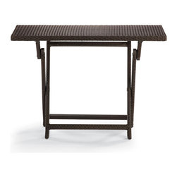 Frontgate - Cafe Counter Height Folding Table, Patio Furniture - Handwoven all-weather fibers. Durable powdercoated aluminum frame. Golden bronze metallic sheen. Our Cafe Counter Height Folding Table sets up instantly for guests. The sturdy, beautifully woven table can host platters of food, beverages, and plates, or double as an additional table. Woven with all-weather, golden bronze fibers, the table is perfect for al fresco meals and extra guests. Folds for convenient storage.. . .